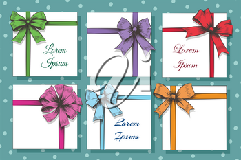 Set of Hand Drawn Cards With colorful Gift Bows And Ribbons. Vector illustration