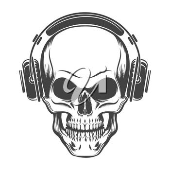 Hand Drawn Human Skull with Headphones. Vector illustration in tattoo style.