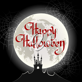 Hand drawn Happy Halloween lettering with moon and spider web background. Vector illustration