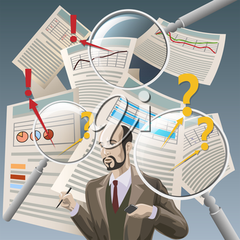 Illustration with auditor analyzing financial documents and three  magnifying glasses as metaphor of deep examination