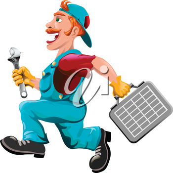 Funny illustration with plumber running to help drawn in cartoon style