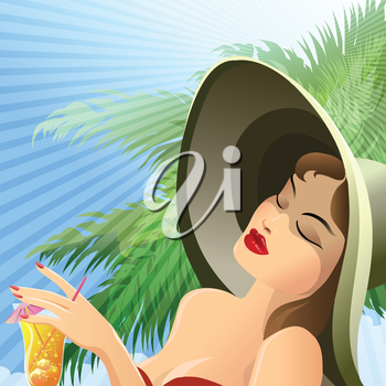 Illustration of pretty girl in beach hat who holds a cocktail glass in hand against tropic background drawn in vintage style