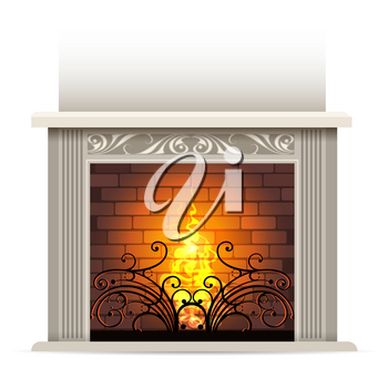 Classic fireplace with a bright burning flame. Element of interior design. Vector illustration.