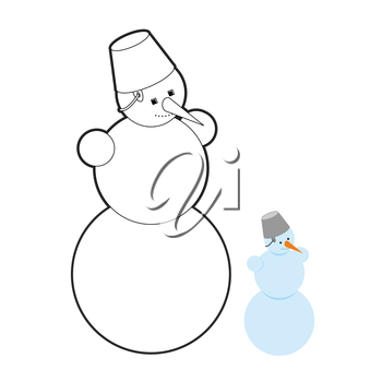 Snowman coloring book. Christmas character out of snow. Cheerful snowman with carrot and bucket on his head. New year snow sculpture.