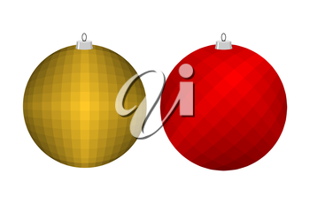Christmas tree toy. Golden and red ball. Decoration for Christmas and new year.
