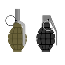 Military grenade. Set of military hand grenade: green and black. Ammunition soldier.