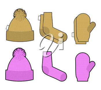 Set clothes for cold weather. Winter knitted clothing accessory. Hat and socks, mittens. Warm clothing.