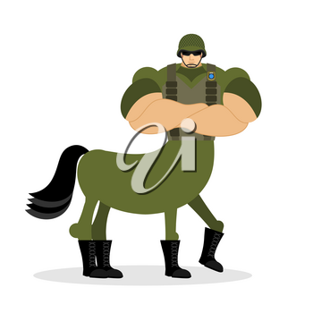 Centaur soldier in helmet. Military mythical creature. Half horse half person. Magical Warrior. Fairy-tale characters athlete. Man horse