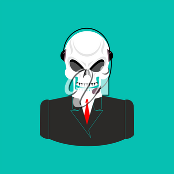 Death call center. Skull with headset. Skeleton feedback operator with clients. afterlife Customer Service