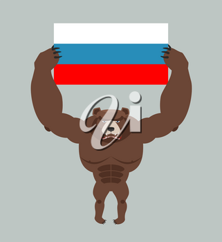 Russian aggressive bear. Angry animal holds Russian flag. Ferocious wild beast. Forest monster with big teeth and claws