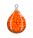 Boxing pear in Khokhloma style. Russian Traditional national floral pattern. Russia Patriot sports accessories for boxing