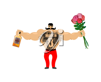 March 8. Brutal macho congratulate. bottle of wine and bouquet of roses. Male torso with hair. Epilation figure eight. Men's gift for International Women's Day.