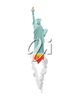 Statue of Liberty flying rocket. Landmark America is flying. Flame and smoke from turbine