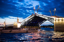 Night shooting in the city of St. Petersburg, process of cultivation of bridges, a view from the motor ship.