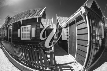black and white photography. Traditional houses in Holland town Volendam, Netherlands