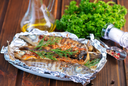 baked fish with spice in the foil