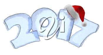 Happy New Year creative holiday concept - 2017 new year sign text written with numbers made of clear blue ice with Santa Claus fluffy red hat, New Year 2017 winter symbol, 3d illustration isolated on