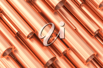 Metallurgical industry production and non-ferrous industrial products abstract illustration - many different various sized stainless metal shiny copper pipes, 3D illustration.