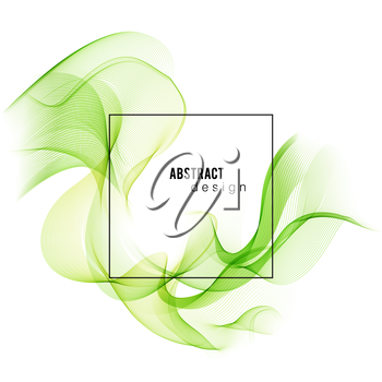 Smoke green wave. Vector Abstract green wave lines.