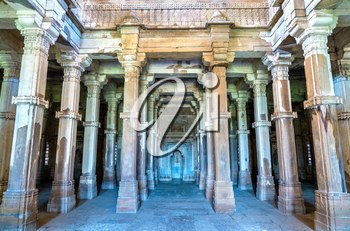 Interior of Jami Masjid, a major tourist attraction at Champaner-Pavagadh Archaeological Park - Gujarat state of India