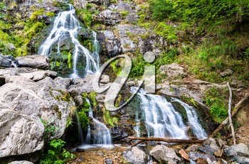 Todtnau Waterfall in the Black Forest Mountains, one of the highest waterfalls in Germany