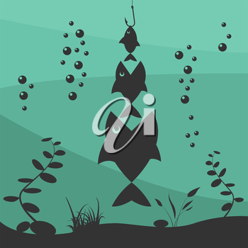 Fishing on the boat. Fishing design elements. Vector illustration