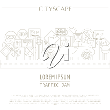 Cityscape graphic template. Modern city. Vector illustration. Traffic jam, transport, cars, road signs. City constructor. Template with place for text. Outline version