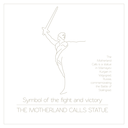 World landmarks. Volgograd. Russia. The Motherland Calls Statue on the Mamaev Kurgan. For heroes of the Battle of Stalingrad. Graphic template, logos. Linear design. Vector illustration