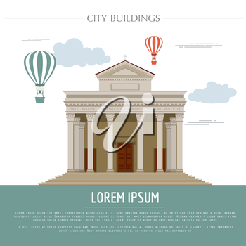 City buildings graphic template. Italian basilica. Vector illustration