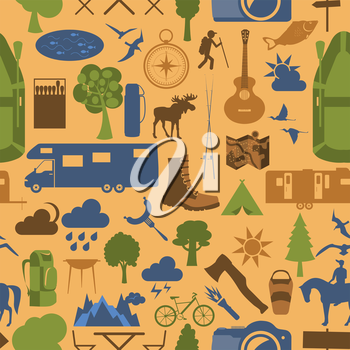 Camping outdoors hiking seamless. Pattern.  Vector illustration