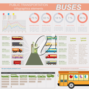 Public transportation ingographics. Buses. Vector illustration