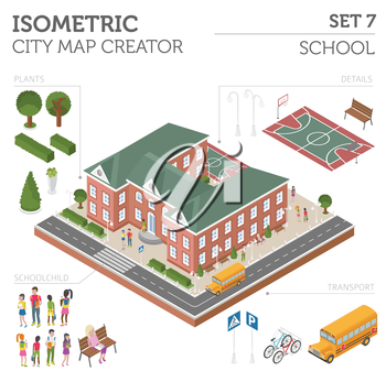 Flat 3d isometric school and city map constructor elements such as building, schoolcild, bus isolated on white. Build your own infographic collection. Vector illustration