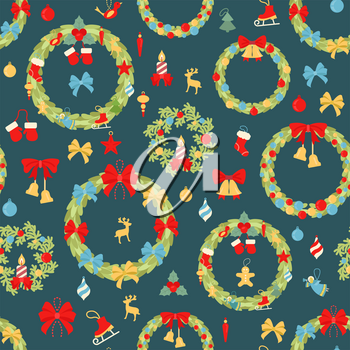 Christmas wreath seamless pattern. Decoration elements set for  holiday greeting card, poster design. Vector illustration