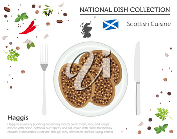 Scottish Cuisine. European national dish collection. Haggis isolated on white, infographic. Vector illustration