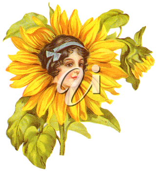 Royalty Free Clipart Image of a Woman's Face on a Flower