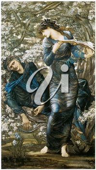 Royalty Free Clipart Image of The Beginning of Merlin by Edward Burne-Jones