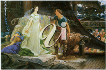 Royalty Free Clipart Image of Tristan and Yeult by Herbert Draper