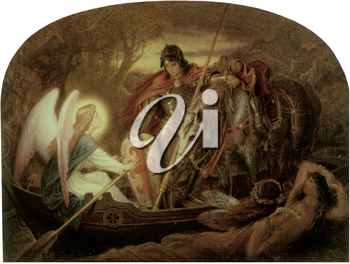 Royalty Free Clipart Image of How an Angel Rowed Sir Galahad Across Dern Mere by Joseph Noel Paton