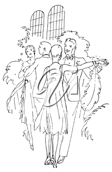Royalty Free Clipart Image of Two Couples Dancing At an event