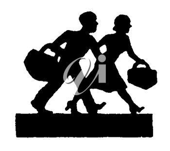 Royalty Free Silhouette Clipart Image of a Couple Off to Work