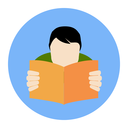 Reading Man Icon. FAQ Concept. Flat style illustration. Isolated in colored circle on white background.