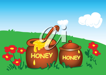 Illustration of pots of honey in a meadow with flowers