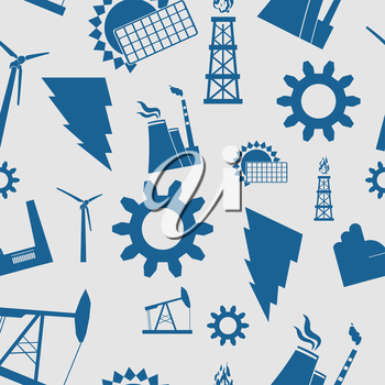 Energy and Power icons seamless pattern. Vector icon set of sustainable energy generation