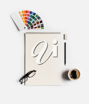 Branding stationery mockup on paper background. Blank objects for placing your design. Flat lay.