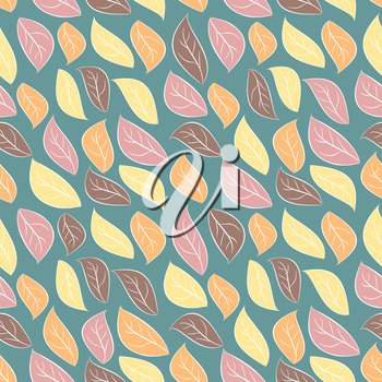 Seamless background of autumn foliage. Pale leaves seamless pattern. Vintage ornament