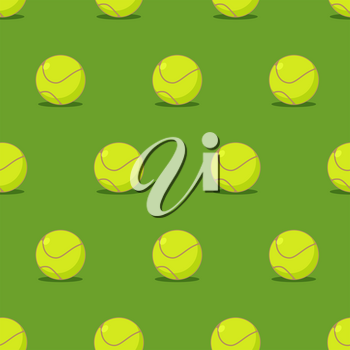 Tennis ball seamless pattern. Sports accessory ornament. Tennis background. Texture for sports game with ball