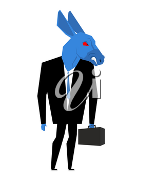 Donkey businessman. Metaphor of Democratic Party of United States. Wild animal with briefcase and tie. Beast in business suit. Political illustration for USA elections