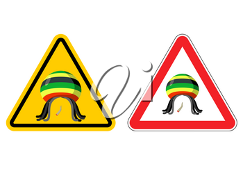 Warning sign Rastaman. Attention Stoned drug man. Dangers yellow sign rasta hat and joint or spliff. Marijuana drug on red triangle. Set of road signs