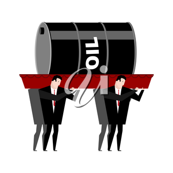 Funeral oil. Barrel of oil carried in coffin. Businessmen buried petroleum. Red wooden casket. Procession to cemetery. Grief illustration. Falling  petrol rate