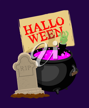 Halloween. Pot with magical potion and hand of zombie. grave and arm green corpse. Illustration for terrible holiday